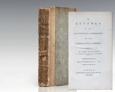 London: Printed for C. Dilly, 1787. First edition of John Adams' landmark work. Octavo, original boa...