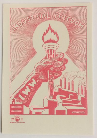 Ithaca: Printed by Glad Day Press for the IWW, . 3.25x4.75 inch label very good, with design by Tedd...