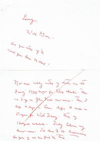 AUTOGRAPH LETTER ON A GREETING CARD SIGNED BY ACTOR AND SOCIAL ACTIVIST WILL GEER.