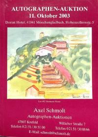 Auktion 11 Oktober 2003 : Autographen. Geschichte, Literatur, Musik,  Bühne, Film, Tanz, Bildende Kunst, Wissenschaft, Luftfahrt, Sport,...