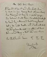 """Autograph verse signed, the first stanza, of 8-lines, of her poem """"The Old Arm Chair"""" -"""