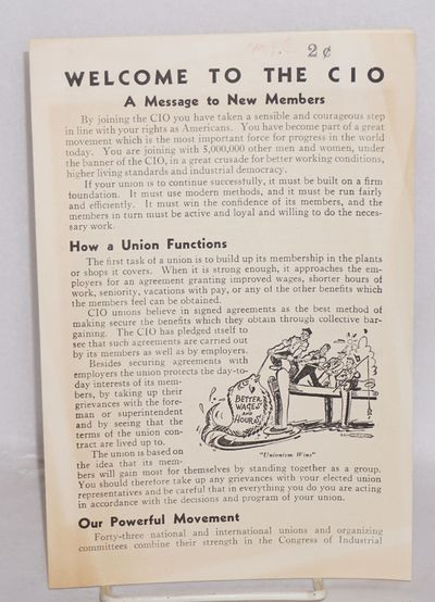 Washington: Congress of Industrial Organizations, 1941. Four panel brochure, minor closed tears in m...