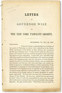 Letter of Governor Wise to the New York Tammany Society