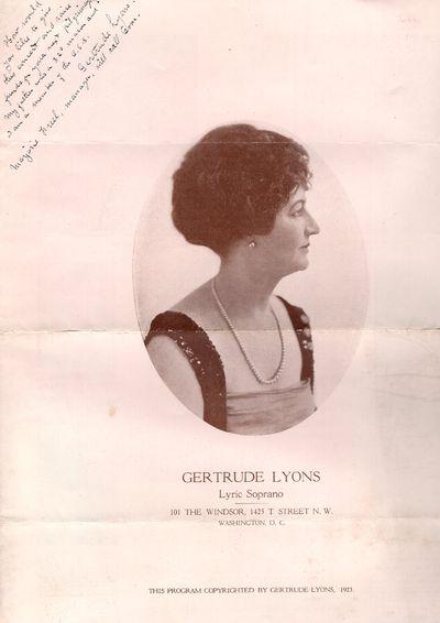 Washington DC: Gertrude Lyons, 1923. First Edition. Folded Sheet. Very good. Folio program, featurin...