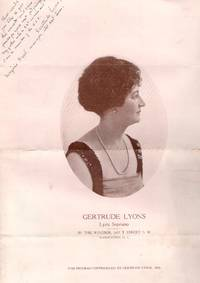 1923 Inscribed/Signed Program for Gertrude Lyons, Lyric Soprano, at the Windsor, Washington D.C