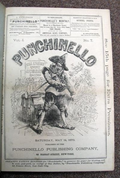 New York: Punchinello, 1870. 1st edition. Half leather with pebbled cloth boards. Old rebacking. A V...