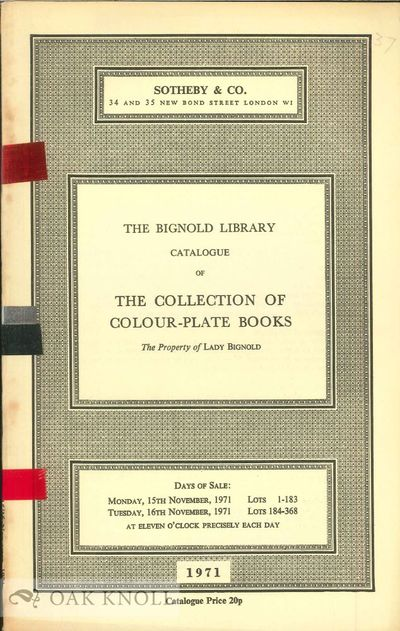 London: Sotheby's, 1971. stiff paper wrappers. Bignold. 8vo. stiff paper wrappers. 52 pages. Prices ...