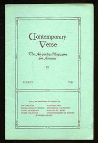 Contemporary Verse: August 1920 by  editor  Charles Wharton - 1920 - from Between the Covers- Rare Books, Inc. ABAA (SKU: 75011)