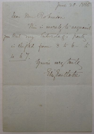 1835. unbound. 1 page, 6.5 x 4.5 inches, no place, June 20, 1835. In this brief letter, Eastlake cha...