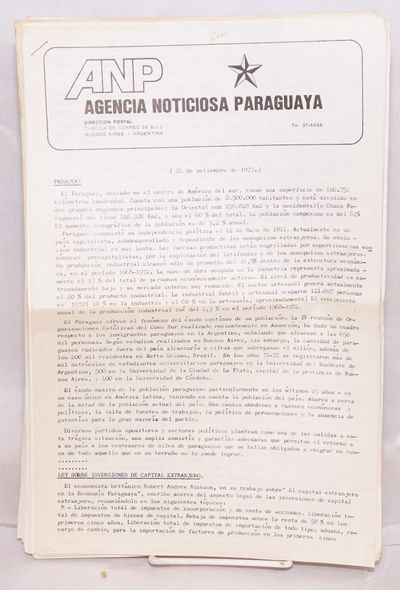 Buenos Aires, Argentina: ANP, 1973. Twenty-four issues of the newsletter published by Argentina-base...