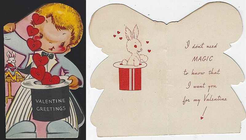 VINTAGE VALENTINE WITH LITTLE BOY MAGICIAN, Valentine