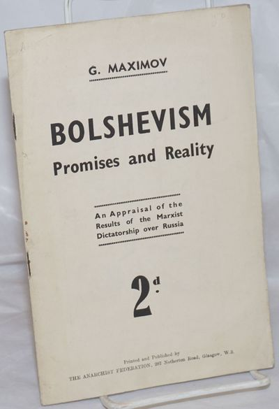 Glasgow, Scotland: The Anarchist Federation (Glasgow Group), 1940. Pamphlet. 23p., staplebound pamph...