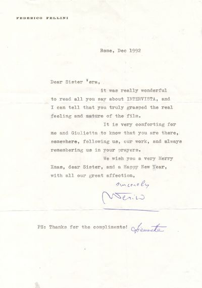 Fellini expresses appreciation for a review of his 1987 film