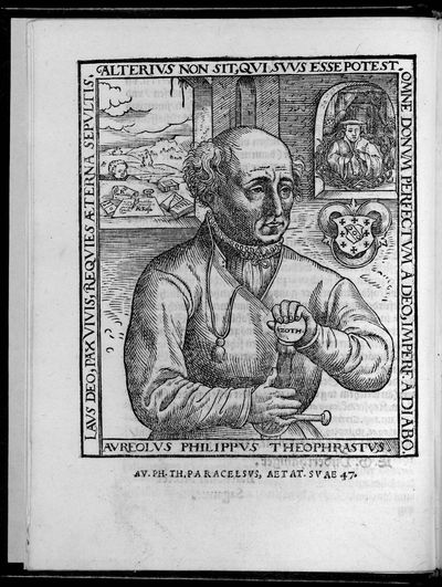 Title within typographical border & a full-page woodcut of the author, aged 47, on verso of A4. 4 p....