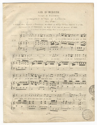 Paris: Janet et Cotelle , 1825. Folio. Bifolium. 3, (blank) pp. Titling to head of p.1; incipit