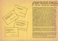 Solidarität mit dem Hungerstreikenden revolutionären RAF-Gefangenen! Tod dem westdeutschen Imperialismus! [Solidarity with the revolutionary RAF prisoners on hunger strike! Death to West German imperialism!]