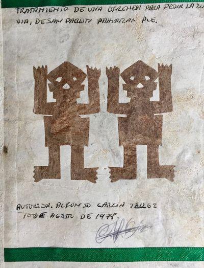 San Pablito Pahuatlan, Puebla, Mexico: Manuscript, 1978. Hand-made volume, 17 x 13cm, pp 28, accordi...