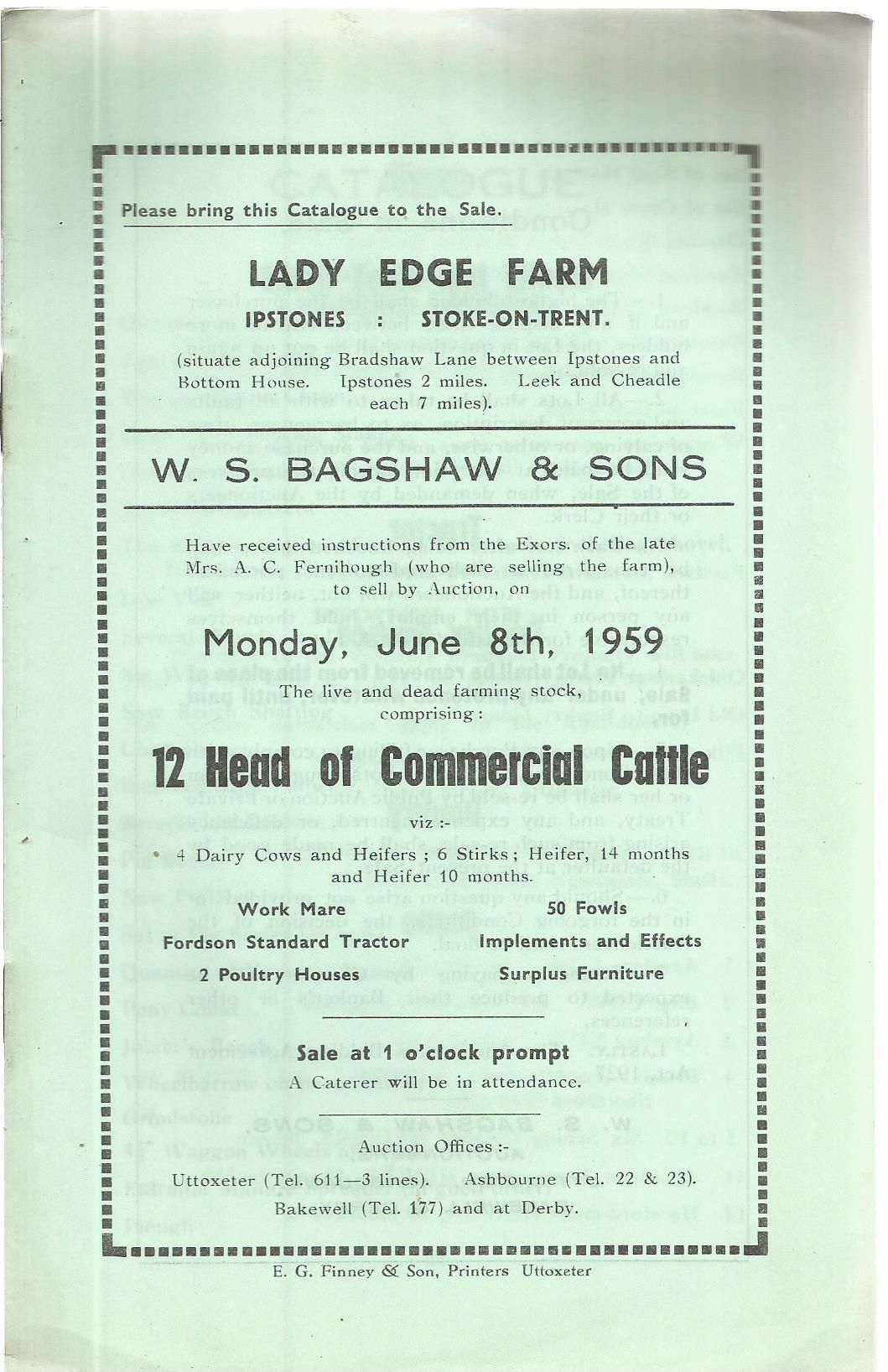 Lady Edge Farm , Ipstones , Stoke On Trent : Sale Catalogue Of Commercial  Cattle by Anon - Paperback - 1959 - from Tavrobel and Biblio com