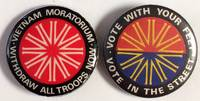 image of [Two different Australian Vietnam Moratorium pinback buttons]. Vietnam Moratorium / Withdraw all troops now [and] Vote with your feet, vote in the street