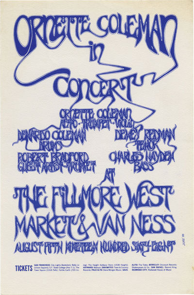 San Francisco: The Fillmore West, 1968. Two color lithograph handbill designed by legendary psychede...
