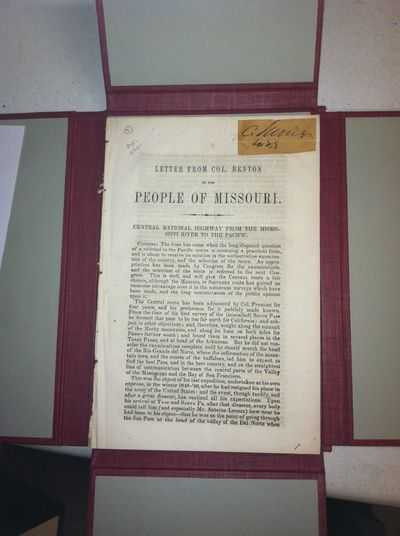 . First edition. 24pp. Sewn as issued, in a cloth box. Pasted on the first leave is a small square s...
