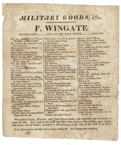 Augusta, , 1820. Approx. 7¾ x 6¾, text in triple column under a running head; lightly foxed; v...