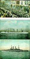 South Australia postcard 'Adelaide Welcomes Japanese Men-of-War's Men' [with] Valentine's Series, set of Japanese Cruiser postcards