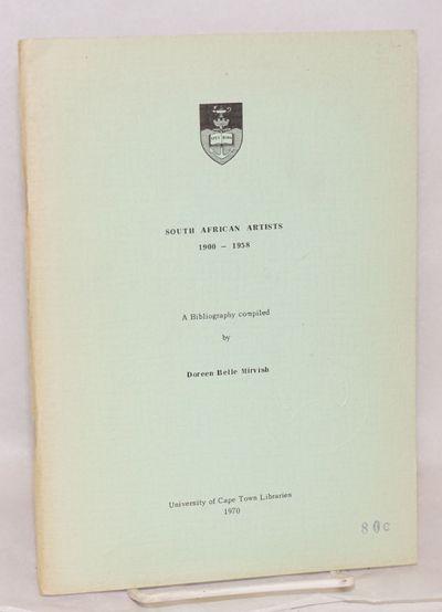 Cape Town: University of Cape Town Libraries, 1970. Paperback. vi, 40p., unrevised softbound reprint...