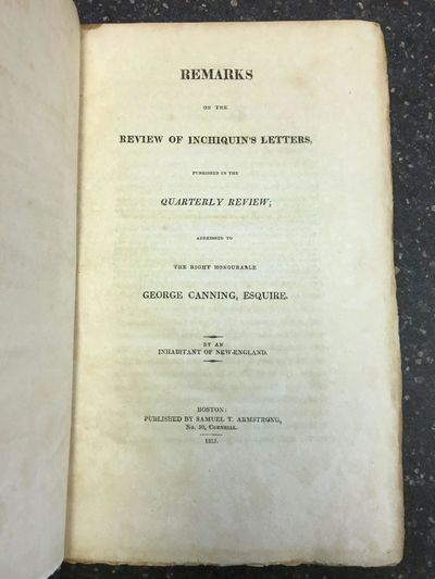 Boston: Samual T. Armstrong, 1815. First Edition. Hardcover. Octavo, 176 pages; VG; bound in contemp...