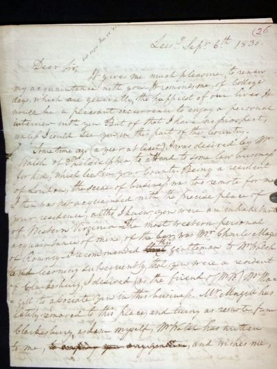 4 pages, autographed, letter, signed. September 6, 1830. After graduation from Dickinson College, he...
