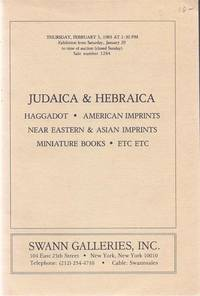 13 SWANN GALLERIES JUDAICA AUCTION CATALOGS FROM 1983 TO 1993