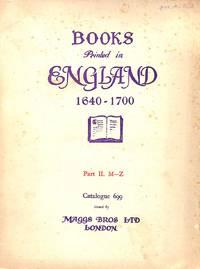 Catalogue 699/1941: Books Printed in England, Scotland & Ireland, &  English Books Printed Abroad.