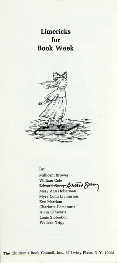 NY: The Children's Book Council, 1975. Gorey, Edward. Octavo trifold brochure. Signed by Gorey. Gore...