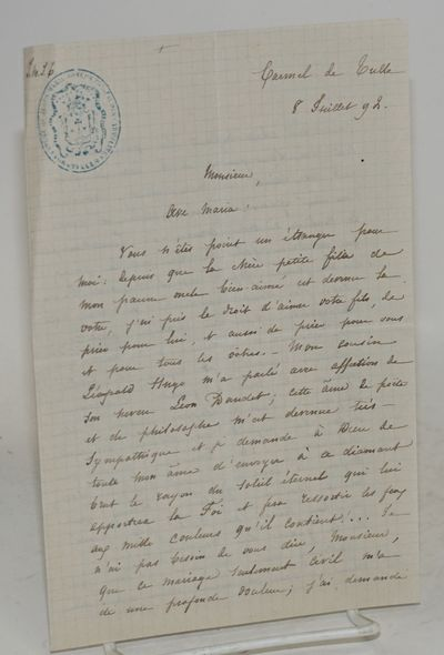 Carmel de Tulle: the author, 1892. Single sheet of paper with light blue grid, folded to make four-p...