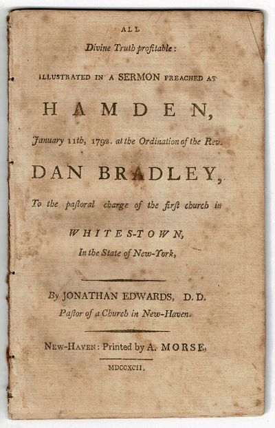 New-Haven: printed by A. Morse, 1792. First edition, 8vo, pp. 42; removed from binding, wanting wrap...