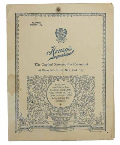 New York, 1930. Flexible cream cardstock with blue decoration and lettering. Light soiling and stain...