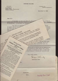 TSL of Acceptance to Harvard College September 8, 1939, Registration Broadside for 1939-40 Academic Year, Regulations for Students in Harvard College  1939-40 in original mailing envelope with Two Cent Stamp on which there was postage due of One Cent.