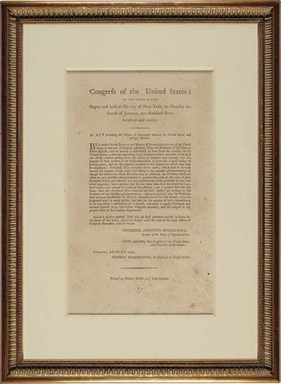 : Printed by Francis Childs and John Swaine, 1790. Broadside, 12 1/2 x 7 1/4 inches visible within t...