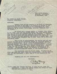 Aubrey Drury Archive - 2 TLS and 4 Typed Chapters of a Manuscript to the  Arthur H. Clark Company