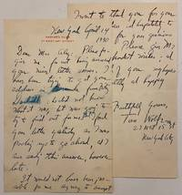 """Autograph letter, signed """"Tom Wolfe"""