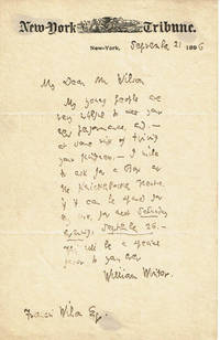AUTOGRAPH LETTER SIGNED BY DRAMA CRITIC WILLIAM WINTER, ASKING ACTOR FRANCIS WILSON IF WILSON CAN OFFER HIM SEATS FOR ONE OF HIS PERFORMANCES.
