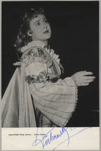 Waist-length role portrait photograph in costume in an unknown role, signed in full