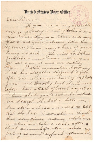 Canon City, Colorado, 1916. Letter. Very good. The letter is written on United States Post Office st...