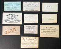 Lot of 10 Business Cards c. 1883 (9 unique titles) black and white printing on white and colored card stock, single and double sided