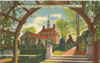 Gardens and the Royal Governor's Palace, Williamsburg, VA, unused linen Postcard