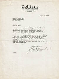 TYPED LETTER SIGNED BY AMERICAN RADIO JOURNALIST AND ASSOCIATE EDITOR OF COLLIER\'S MAGAZINE JOHN B. KENNEDY, SOLICITING A LECTURE PLATFORM.