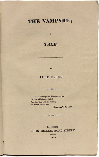 London: John Miller, 1819, 1819. THE EXCEEDINGLY RARE PIRATED PRINTING WITH BYRON'S NAME ON THE TITL...
