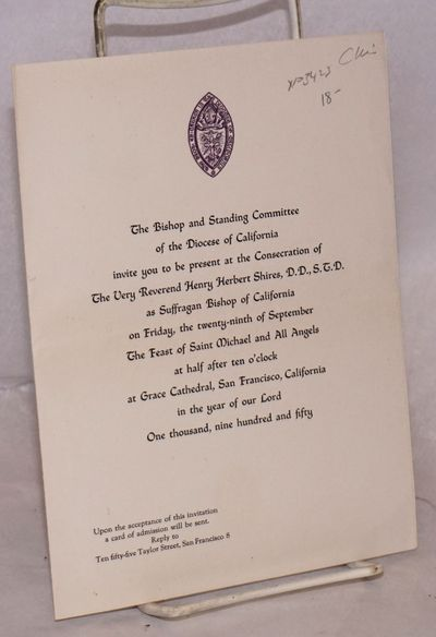 San Francisco: Diocese of California, 1950. 4 page invitation, printing on cover only, 6x8 inches, f...