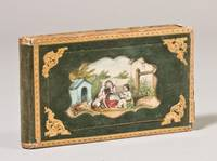 Collection of Autograph Sentiments in German, including Love Poems with drawings, preserved in a Green Velvet Book Box with Handcolored Sentimental Vignette on Upper Cover