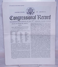 image of Congressional Record: proceedings and debates of the 76th Congress, Second Session: Peace and Honor for America, Speech of Hon. Arthur H. Vandenberg of Michigan in the Seante of the United States, October 4, 1939